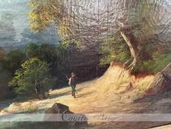 Biedermeier tájkép restaurált 1830-40