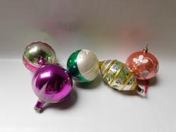 Retro üveg karácsonyfadíszek - 5 darab