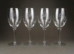 1C806 Csiszolt négydarabos talpas üveg borospohár
