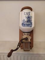 Antik konyhai eszköz porcelán falra szerelhető delfti hajó szélmalom motívumos kávé daráló