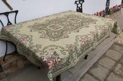 Retro virágos, kosaras szövött ágytakaró, takaró, terítő,  asztalterítő nosztalgia darab