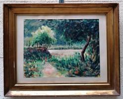 Farkasházy Miklós (1895-1964) Strand c. Képcsarnokos Festménye Eredeti Garanciával
