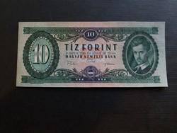 Hajtatlan 10 Forint 1969 aUnc, a bankjegy fölső harmadában keresztbe vízszintesen görgőnyom.