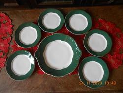 Zsolnay zöld Pompadour alapmázas süteményes készlet 6 sz.