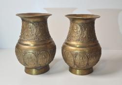 Antik réz/bronz?/ tibeti váza pár /gyönyörű ritka darabok