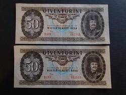 50 Forint 1986 Ef,sorszámkövető pár,  középen függőlegesen 1 hajtás.