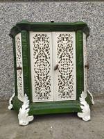 Antik zöld fehér zománcozott vaskályha öntött vas kályha kandalló keret