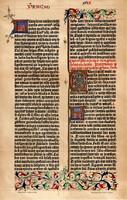 Gutenberg biblia egy lapjának hasonmása 1455, litográfia 1904, lexikon melléklet, színes nyomat