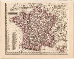Franciaország térkép 1840, német nyelvű, atlasz, eredeti, Pesth, 23 x 29 cm, magyar kiadás, Pest