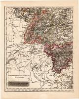 Délnyugati Német államok térkép 1840, német nyelvű, atlasz, eredeti, Pesth, 23 x 29 cm, magyar