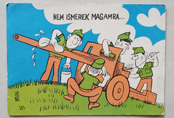 Retro képeslap rajzos katonai karikatúra levelezőlap