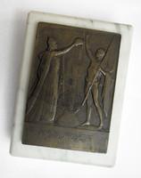 Vincze Pál: Resurget, ÉKE tagilletmény plakett 1931 - irredenta / kő lapon
