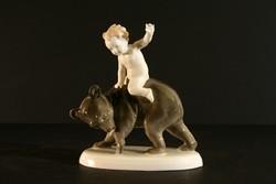Antik Metzler & Ortloff 1920. Medvén Lovagló Fiú Porcelán Figura 12,5x13,5cm Hibátlan