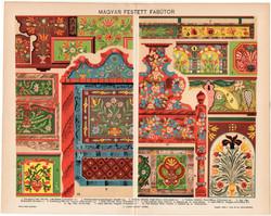 Magyar festett fabútor (3), litográfia 1896, színes nyomat, eredeti, magyar nyelvű, bútor, díszítés