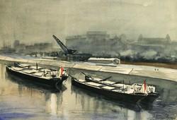 Altorjai 1961. Rakpart Uszályok a Folyón 48x37,5cm Akvarell Kikötő Dokk