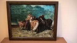 Gyönyörű lovas festmény Schaffner szignóval