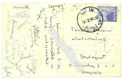 Aranycsapat által küldött képeslap Istanbulból 1956.  futball foci, labda válogatott relikvia