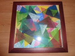 Geometrikus színes kavalkád, jelzett pasztell