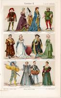 Divat, öltözködés, litográfia 1905 (2), eredeti, német, XV. - XVI. század, öltözet, viselet, ruha