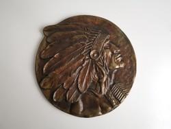 Bronz Indián fali dísztárgy, dekoráció