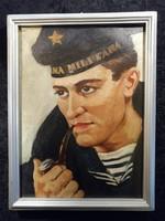 Katonai tengerész portré Olajfestmény