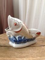 Régi Orosz Zorosten porcelán hal váza