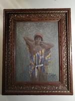 """""""Rabszolganő"""" pasztellkép Ny-európai művésztől"""