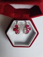 Art deco, nagyon előkelő rubin ezüst fülbevaló - fehér topáz