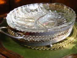 Nagy méretű, áttört falú, ezüstözött keretben, vintage, osztott üveg kínáló az 50-es,60-as évekből