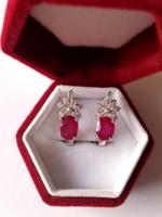 Art deco florális rubin ezüst fülbevaló - fehér topáz
