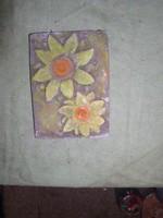 Sárga virágok - szinezett betondombormű -21 x 16 cm  -Lehoczky József 2018.