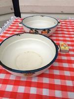 2 darab Régi zománcos edény lábas Bonyhád / Budafok dekorációnak