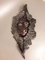 GYŰJTEMÉNYBŐL Romolo Verzolini exkluzív jelzett aranyozott kerámia fali maszk falidísz 1970-es évek