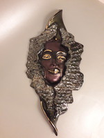 Romolo Verzolini exclusive marked gilded ceramic wall mask wall decoration 1970s