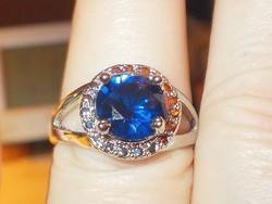 London Kék Topáz köves 925 ezüst Gyűrű 8.5-es