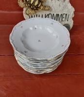 11 db Zsolnay  kicsi  virágos tányérok, tányér,  mélytányér ,lapostányér