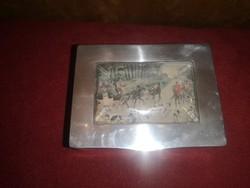 1906-os ezüst doboz vadász jelenetes képpel
