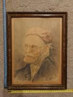 Hauser szignós akvarell portré festmény