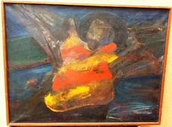"""Kéri Imre """"Alvó utcaseprő"""" absztrak festménye!"""