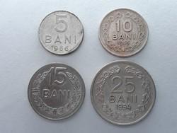Románia 5, 10, 15, 25 Bani 1954, 1955, 1966 - Román pénzérme sor eladó