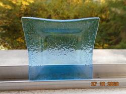 Kézzel készült modern türkiz üveg kis dísztál
