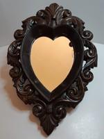 Antik florentin szív alakú politúrozott tükör