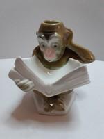 KOMIKUS FIGURA!!! Jelzett antik Sitzendorf könyvet olvasó majom gyertyatartó figura AJÁNDÉKNAK IS!