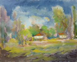 Kondrak Matyikó Margó: Bugaci tanya (olaj-kasírozott vászon) 40x50 cm
