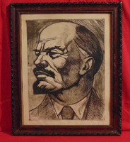 'Lenin' - szocreál alkotás, igényes fekete-fehér rézkarc antik keretben, szignózott /50-60-as évek/