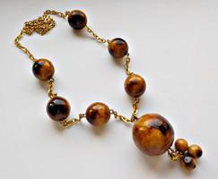 Retro aranyozott fa gyöngyös nyaklánc