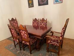 Reneszánsz diófa étkező bútor