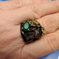 Krizopráz köves ezüst gyűrű
