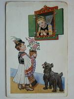 NÉVNAPI ÜDVÖZLET POST CARD, KÉPESLAP 1943 (MATYÓ LEGÉÉNY) (9,5X14,5 CM) EREDETI