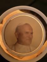 II. János Pál pápa - Hollóházi tányér - szentkép